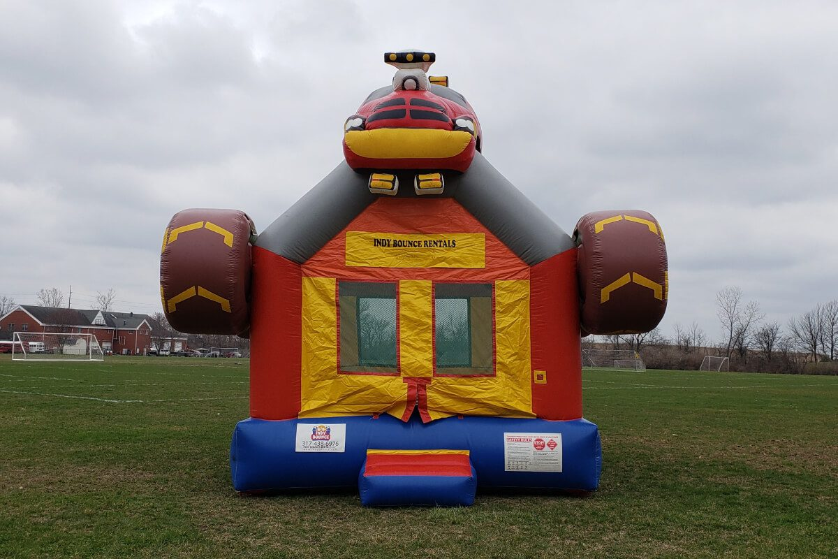 basic bounce house set up in indianapolis park